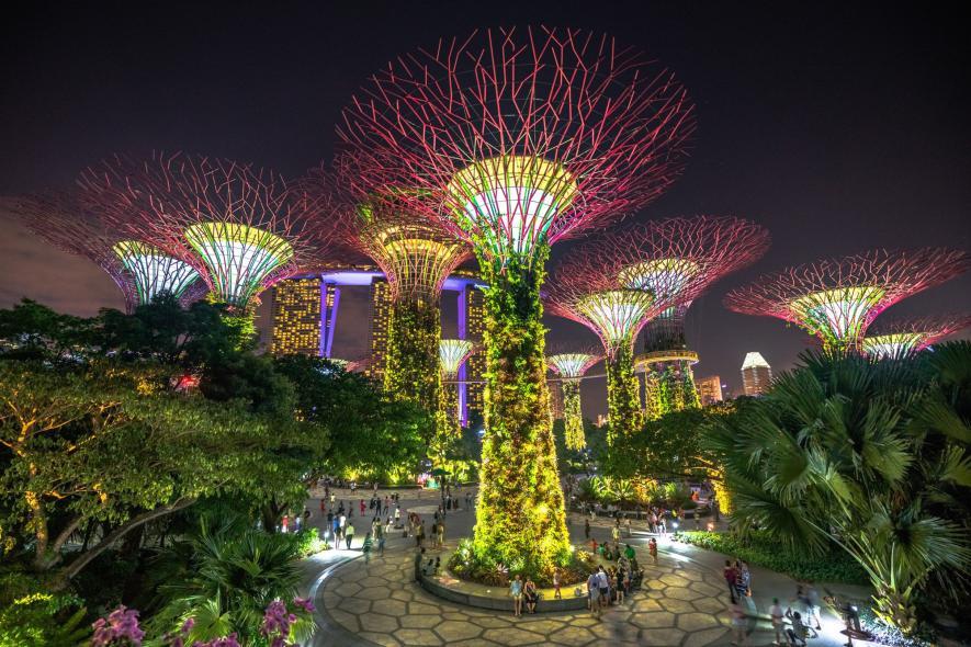 ภาพถ่ายตอนกลางคืนในสิงคโปร์