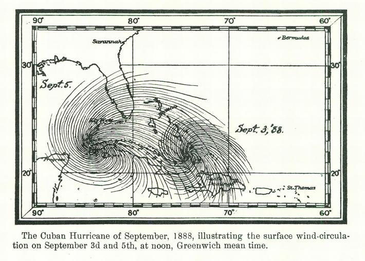 แผนที่เก่าการเดินทางของพายุ