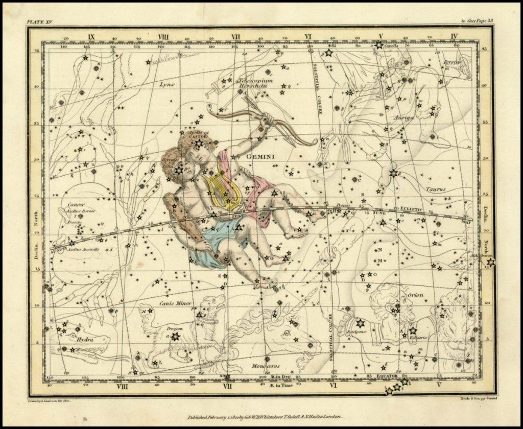 กลุ่มดาวคนคู่, กลุ่มดาว, แผนที่ดาว, ดวงดาว